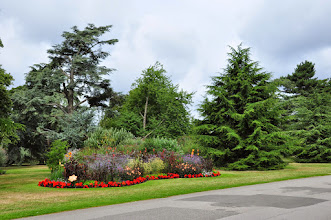 Photo: Bloemenperken en oude coniferen -Kew - Royal Botanical Gardens