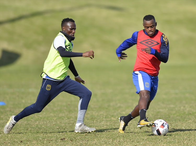 Teko Modise and Ayanda Patosi during the Cape Town City FC Media Open Day at Greenpoint Athletics Track on August 08, 2017 in Cape Town, South Africa.