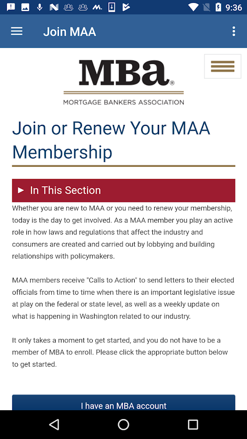 MBA Mortgage Action Alliance- screenshot