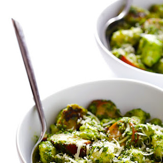 Gnocchi with Brussels Sprouts, Chicken Sausage and Kale Pesto