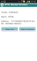 Screenshot of MTNL Mumbai Directory