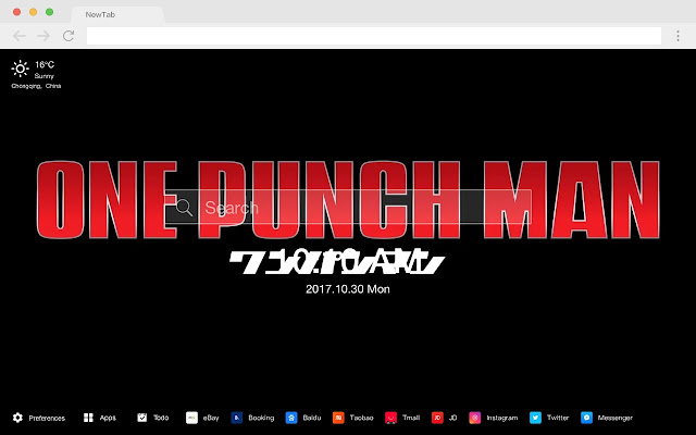 One-Punch Man Pop HD Anime New Tab Page Theme