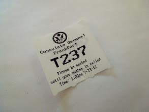 Photo: My ticket at the U.S. embassy in Frankfurt.