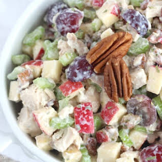 Healthy Chicken Salad with Grapes, Apples and Tarragon-Yogurt Dressing.