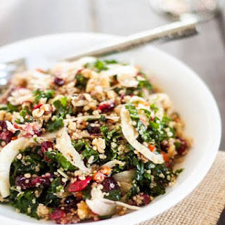 Roasted Garlic Quinoa & Kale Salad with Cranberries