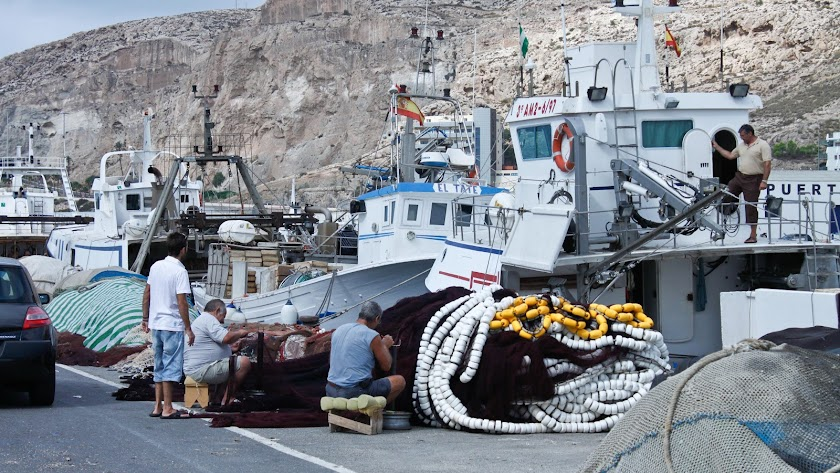 Armadores y marineros trajinando en el Puerto de Almería.