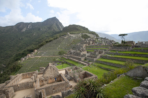 A residential area with a sweeping view at Machu Picchu, Peru.