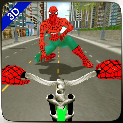 Superhero Spider BMX Bicycle Stunts Rider Race 3D