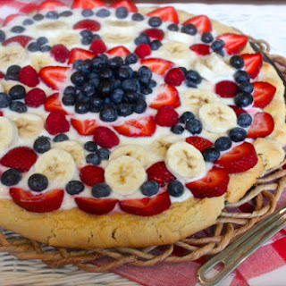 Sugar Cookie Crusted Red, White & Blue Fruit Pizza