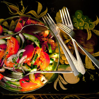 Tomato-Cucumber Salad with Parsley Dressing.