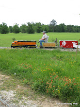 Photo: Larry Bailey on BNSF 2008 with Brian Capopiano's new box car.  HALS-SLWS 2009-0523