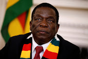 Zimbabwe's president Emmerson Mnangagwa during a media conference at the State House in Harare on August 3 2018.