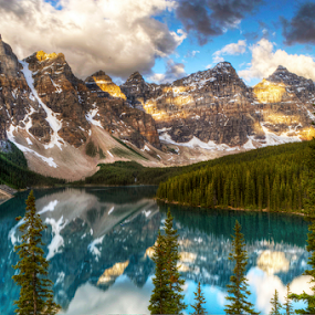 Moraine Lake Morning by John Larson - Landscapes Mountains & Hills ( clouds, mountains, sky, trees, reflections, lake,  )