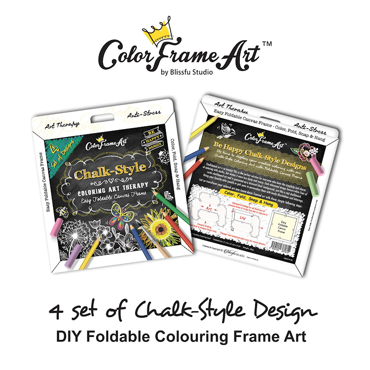 4 Set of Chalk-style Design DIY Foldable Frame Art - ColorFrameArt