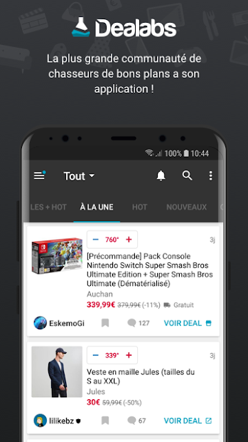 Dealabs – bons plans, soldes & codes promo Android App Screenshot