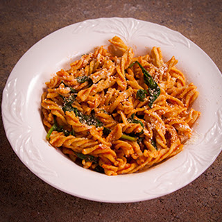Fusilli with Spinach and Tomato Sauce.