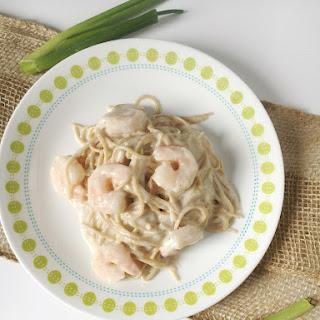 Creamy Cheesy Garlic Shrimp Pasta.