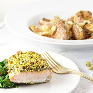 Pistachio Crusted Salmon with Garlicky Smashed Potatoes.