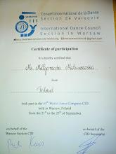 Photo: udział w 45 Międzynarodowym Kongresie Tańca - World Dance Congress CID - w Warszawie wrzesień 2016 rok