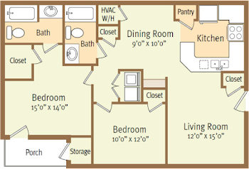 Go to Two Bed, Two Bath A Floorplan page.
