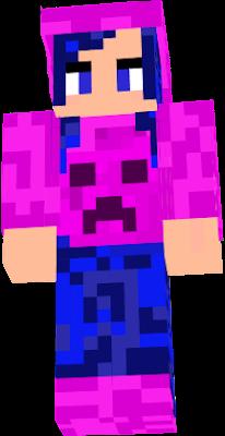 Pink creeper jacket and blue hair