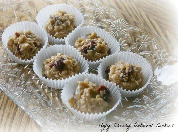 Ugly Cherry Oatmeal No Bake Cookies