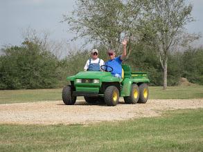 Photo: Ed Rains farmer and Peter Bryan cheer squad
