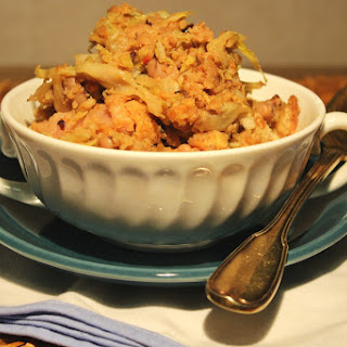Cabbage Crumbs, Sausage and Black-Eyed Peas.