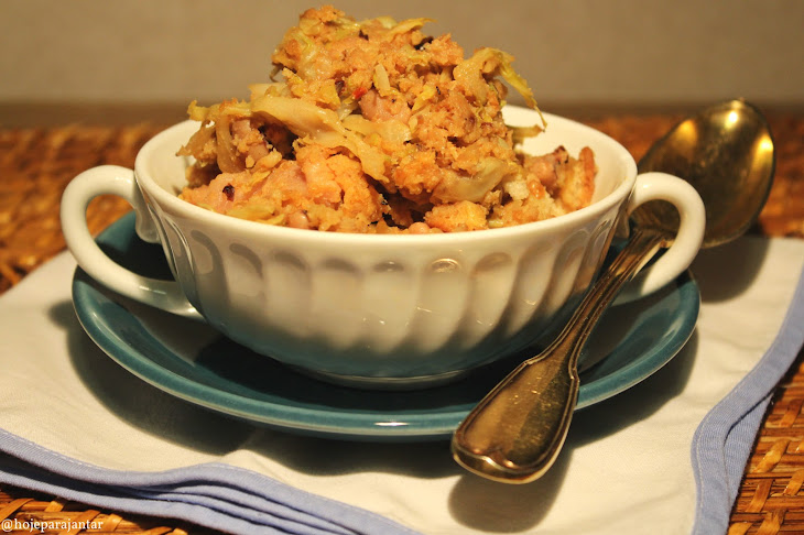 Cabbage Crumbs, Sausage and Black-Eyed Peas