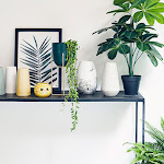 Table with artificial plants, wall art and pastel coloured vases