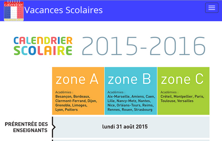 Vacances Scolaires France 2016 - Android Apps on Google Play