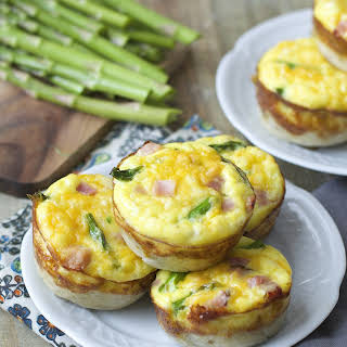 Ham and Asparagus Quiche Cups.