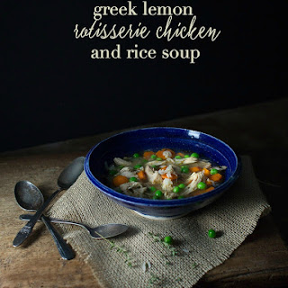 Greek Lemon Rotisserie Chicken and Rice Soup.