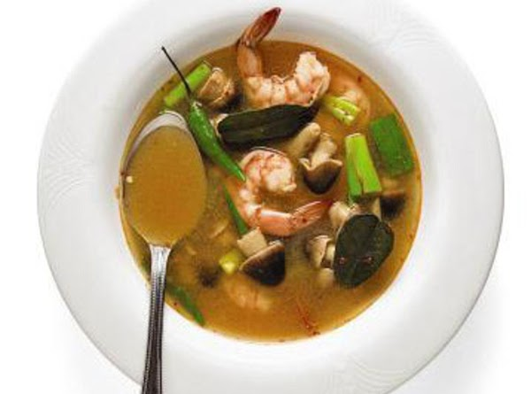 Add the shrimp to the soup and re-heat just to boiling.   ...