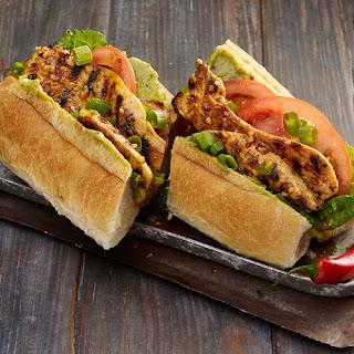 Grilled Chicken Po Boy Sandwich with Spicy Mustard Sauce.