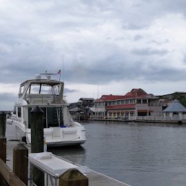 Shem Creek by Hal Gonzales - Buildings & Architecture Homes ( docks, homes, cabin, clouds, water,  )