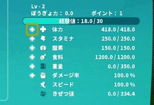 PixARK_ステータス