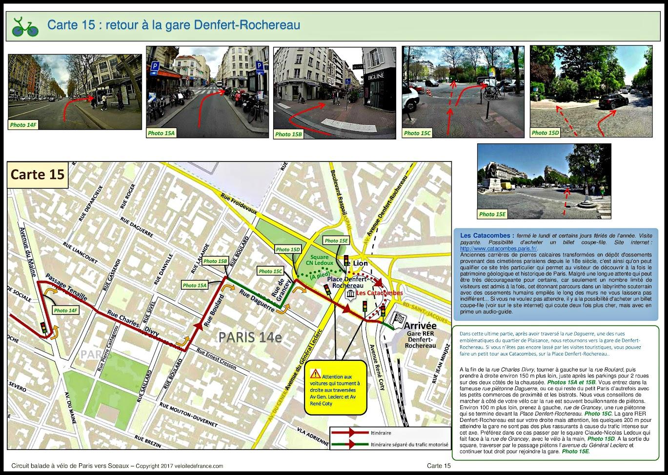 Carte 15 - Circuit à vélo entre Paris et Sceaux, le vallon des poètes par veloiledefrance.com