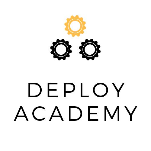 Logo - Trzy koła zębae + napis Deploy Academy
