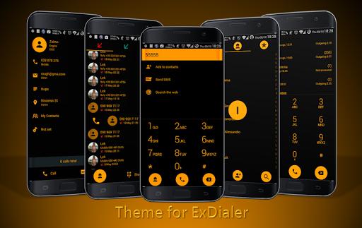 Dialer theme Flat Black Orange 12.0 screenshots 1