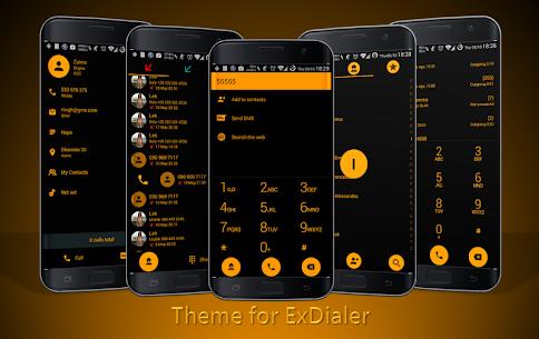 Dialer theme Flat Black Orange 50.0 MOD for Android 1