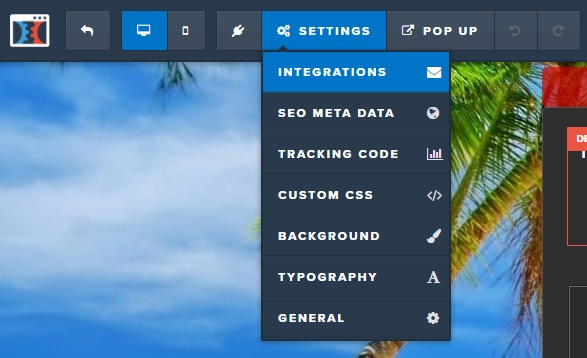 Clickfunnels Edit Page > Settings > Integrations