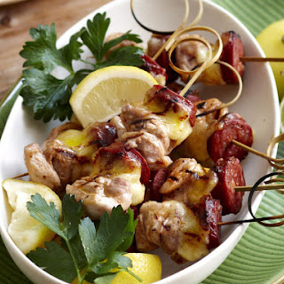 Grilled Chicken, Chorizo and Mozzarella Kebabs.