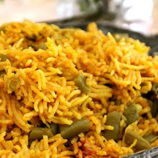 Afghan Cuisine - Green Bean Saffron & Cinnamon Spiced Rice (Lubeyeh Puloh)