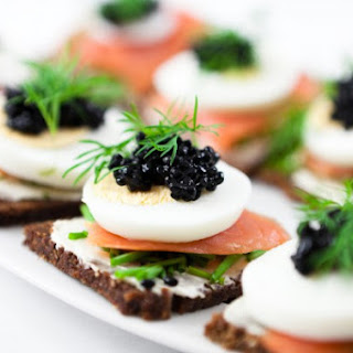 Egg And Salmon Canapé.