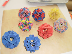 Photo: 3D models of Kemper polyhedra: generated from ordinary polyhedra by converting vertices to the plane through origin perpendicular to the vector to the  vertex.