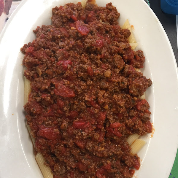 Gluten free pasta with Bolognese sauce