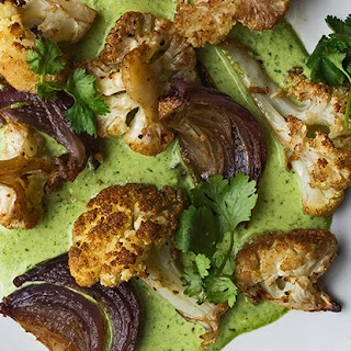 Curry-Roasted Cauliflower with Watercress-Cashew Dressing.