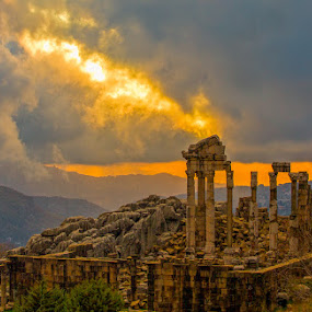 Great Temple of Faqra by Richard Duerksen - Buildings & Architecture Public & Historical ( temple, colums, faqra, roman, lebanon, , #GARYFONGDRAMATICLIGHT, #WTFBOBDAVIS )