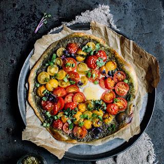 Flammkuchen With Pesto And Tomatos